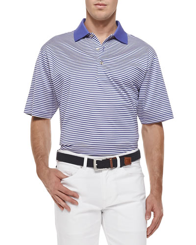 Classic-Stripe Lisle-Knit Polo, Purple