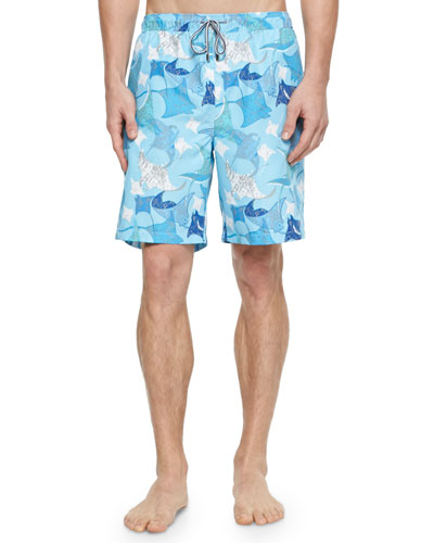 Stingray-Print Swim Trunks, Light Blue