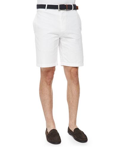 Raleigh Flat-Front Walking Shorts, White