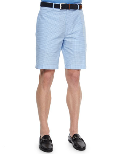 Gingham-Print Twill Shorts, Light Blue