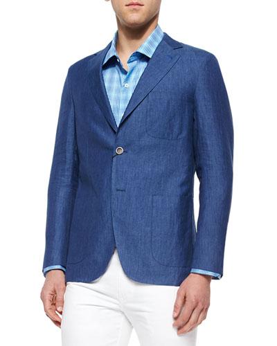 Soft Linen Two-Button Sport Coat, Blue