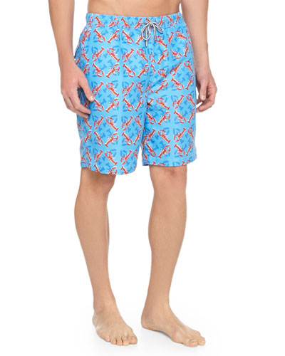 Lobster-Print Swim Trunks, Light Blue