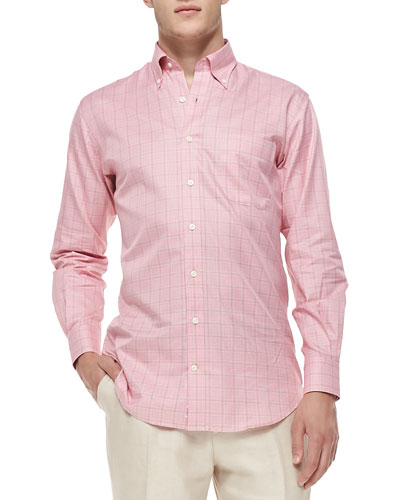 Mini-Glen Plaid Sport Shirt, Pink