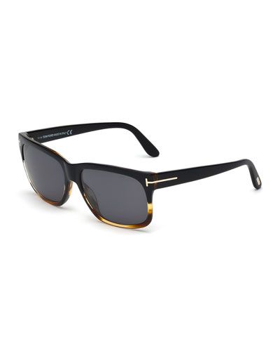 Barbara Rectangle Sunglasses, Black/Havana
