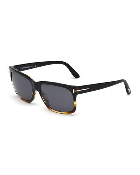 TOM FORD Barbara Rectangle Sunglasses, Black/Havana