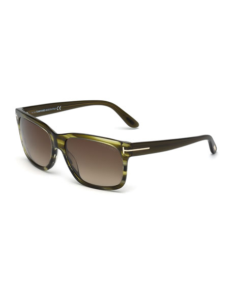 TOM FORD Barbara Rectangle Sunglasses, Green