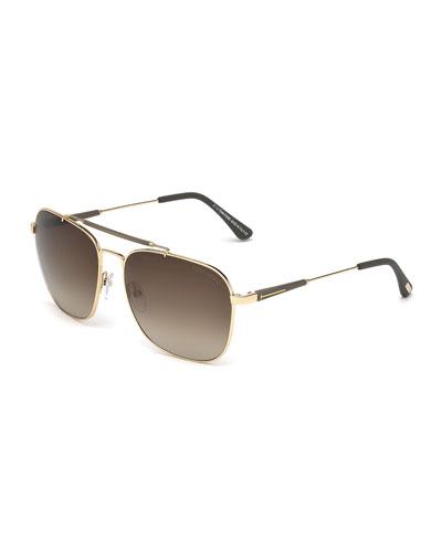Edward Square Sunglasses, Rose Gold/Green