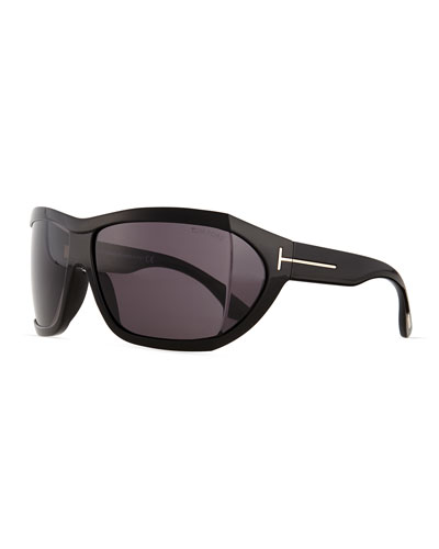 Sedgewick Wrap Sunglasses, Shiny Black