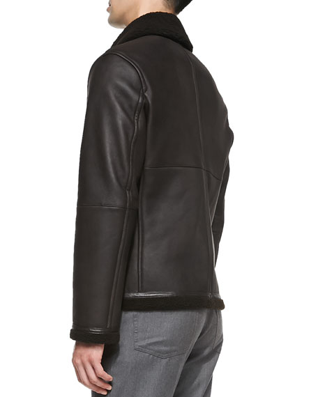 87abaac4 Lamb Leather Jacket with Shearling Fur Brown