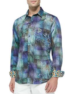 Molaa Bay Long-Sleeve Sport Shirt, Teal