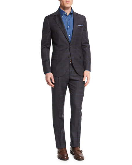 Brunello Cucinelli Windowpane Two-Piece Wool Suit, Charcoal