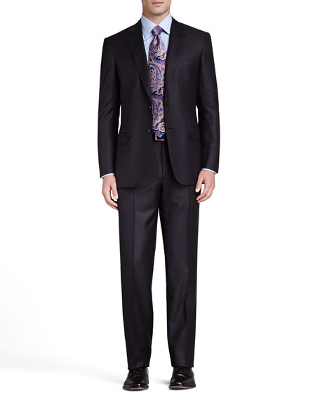 Tonal-Stripe Two-Piece Suit, Charcoal