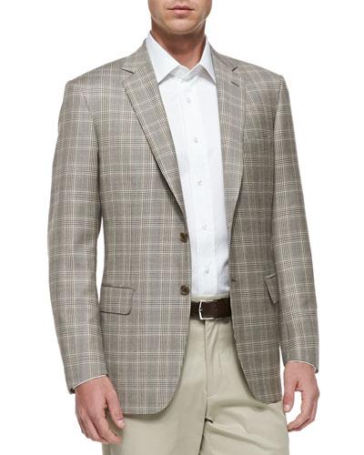 Plaid Two-Button Jacket, Tan/Brown