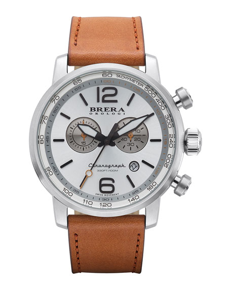 Brera Dinamico Chronograph Watch, Stainless Steel/Tan