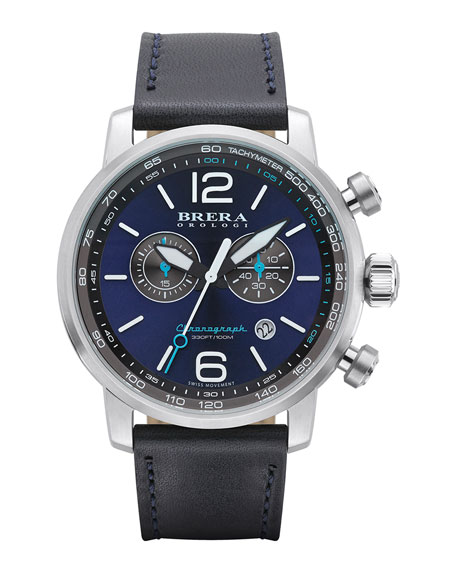 Brera Dinamico Chronograph Watch, Stainless Steel/Navy