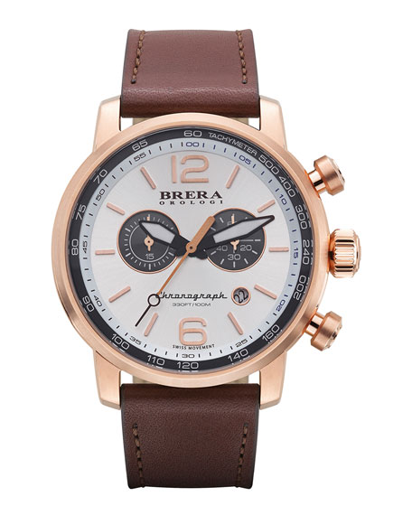 Brera Dinamico Chronograph Watch, Rose/Silver