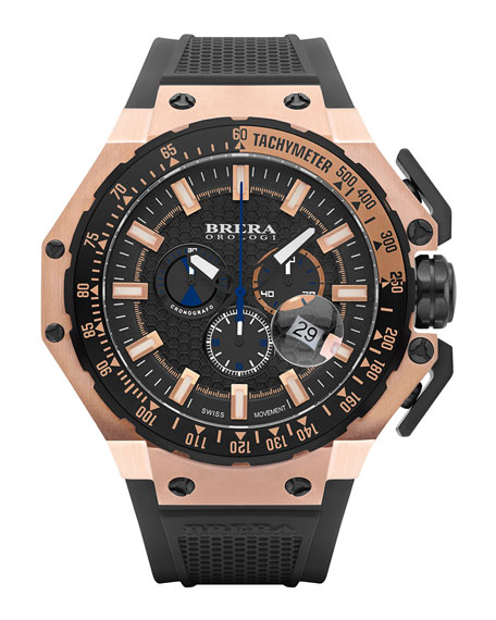 Brera Gran Turismo Chronograph Watch, Black/Rose