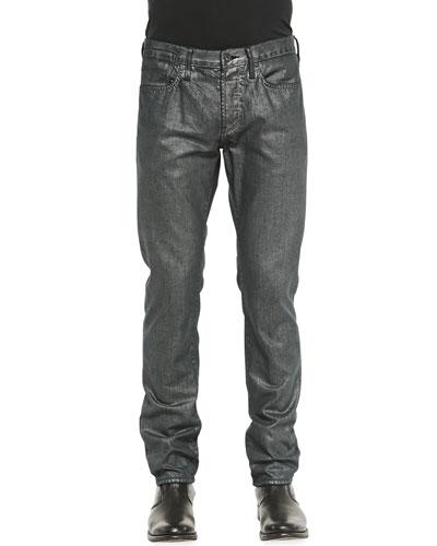 Bowery Metallic Denim Jeans, Hematite