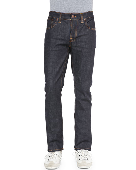 Nudie Grim Tim Straight-Leg Denim Jeans, Dark Blue