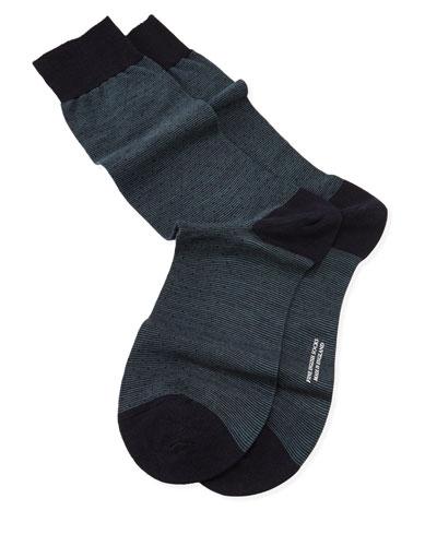 Micro-Striped Pin Dot Socks, Navy