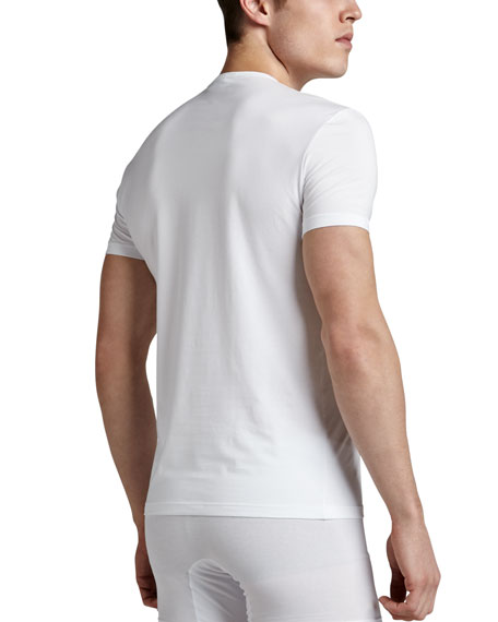 Crewneck Stretch-Cotton Tee, White