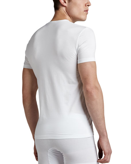 V-Neck Stretch-Cotton T-Shirt, White
