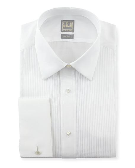 Pleated Tuxedo Shirt, White