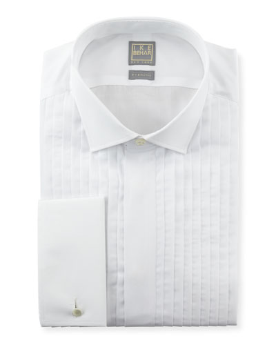 Pleated Fly-Front Tuxedo Shirt, White