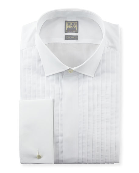ike behar pleated fly front tuxedo shirt white neiman