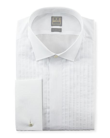 Ike Behar Pleated Fly-Front Tuxedo Shirt, White