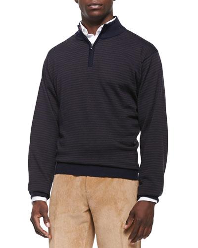 Wool-Blend Striped 1/4-Zip Sweater, Navy