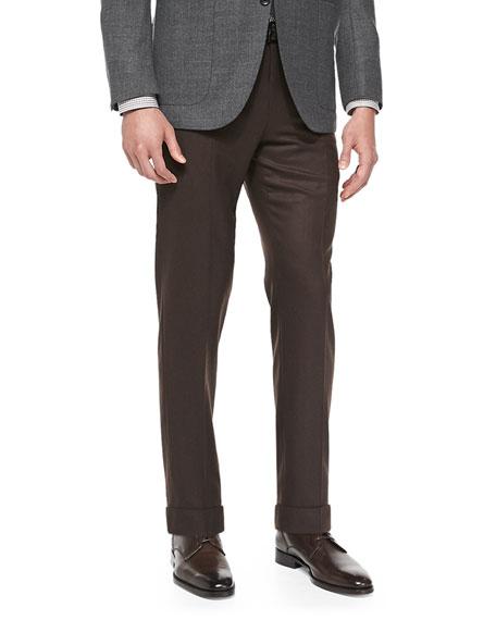 Ermenegildo Zegna Solid Flannel Trousers, Tobacco