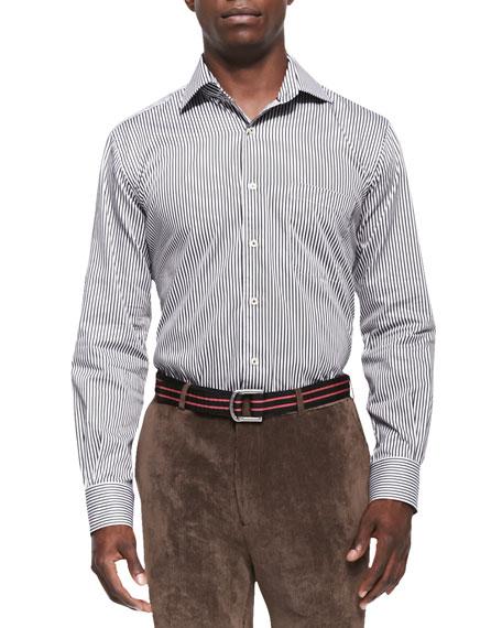 Striped Woven Shirt, Black