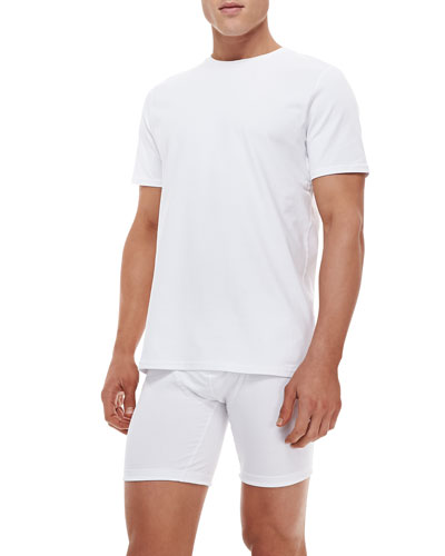 Cotton-Stretch Crewneck Tee, White