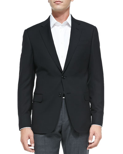 Basic Wool Two-Button Jacket, Black