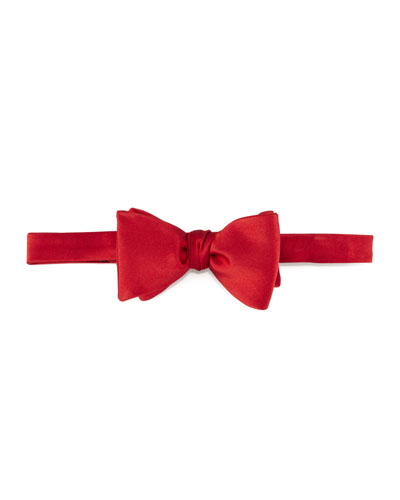Pre-Tied Satin Bow Tie, Red