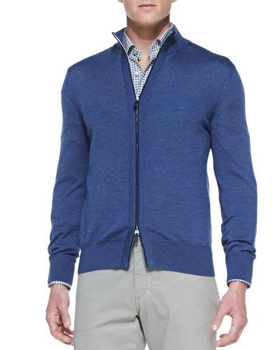High-Collar Wool-Silk Zip Cardigan