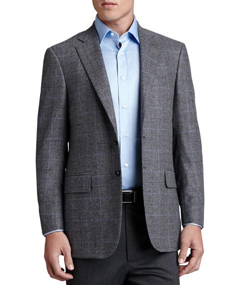 Plaid Wool Sport Coat, Gray/Blue