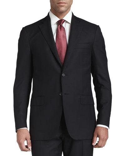 Solid Wool Suit, Black