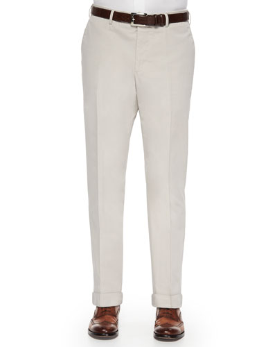 Brando Dressy Cotton Trousers, Stone