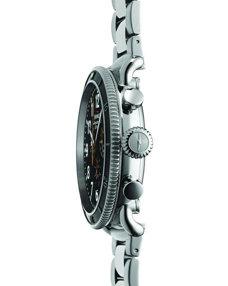48mm Runwell Sport Chrono Watch, Stainless Steel/Black