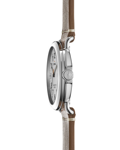 41mm Runwell Leather Strap Watch, White/Brown