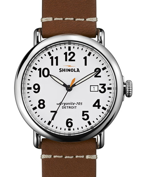 Shinola 41mm Runwell Leather Strap Watch, White/Brown