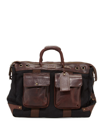 Traveler Canvas/Leather Duffel Bag