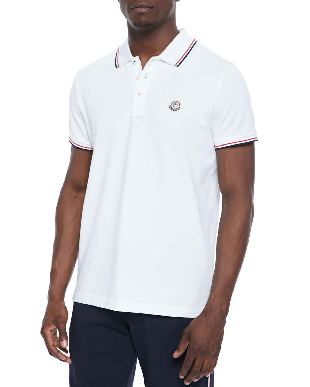 a6759579 Moncler Twin-Tipped Short-Sleeve Polo, White | Neiman Marcus