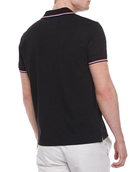 215c626234b3 Moncler Short-Sleeve Tape-Tipped Polo Shirt
