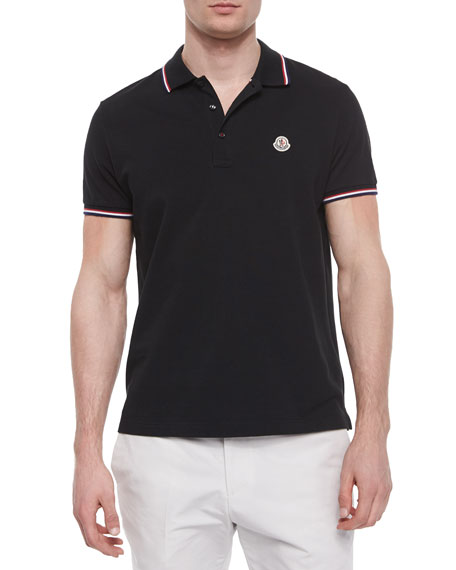 moncler short sleeve tape tipped polo shirt navy. Black Bedroom Furniture Sets. Home Design Ideas