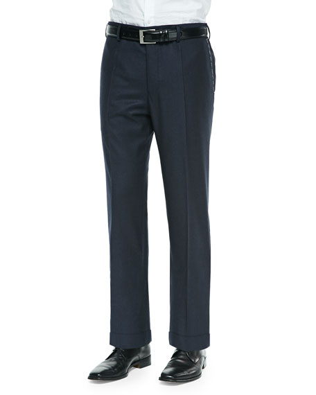 Incotex Bill Wool-Flannel Trousers, Navy