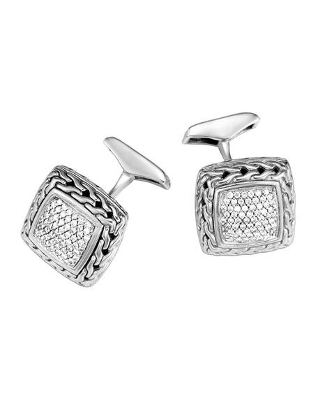 Classic Chain Diamond Pave Cuff Links