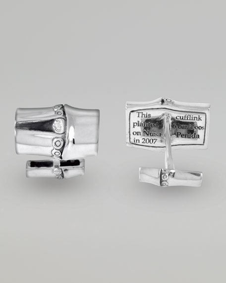 Bamboo Rectangular Cuff Links